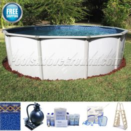 """21' Round 52"""" Deep Caribbean Pool Sand Filter Package"""