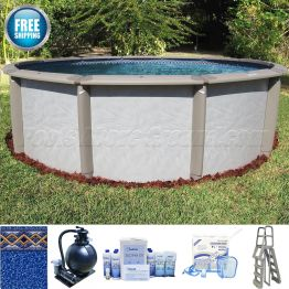 "12' Round 54"" Deep Caspian Pool Sand Filter Package"